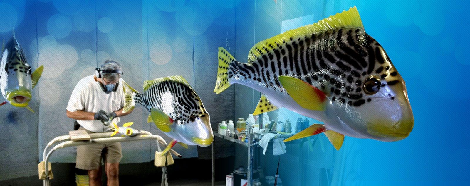 Mike Kirkhart Painting Fish Replicas